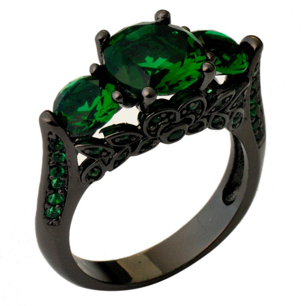 Размер-6-7-8-9-10-мода-ювелирных-изделий-кольцо-черного-золота-заполненные-изумрудный-цвет-циркон