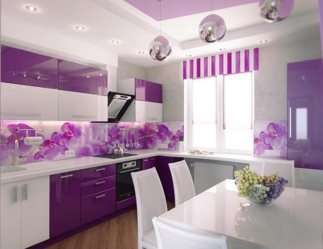Дизайн кухни в фиолетовом цвете фото