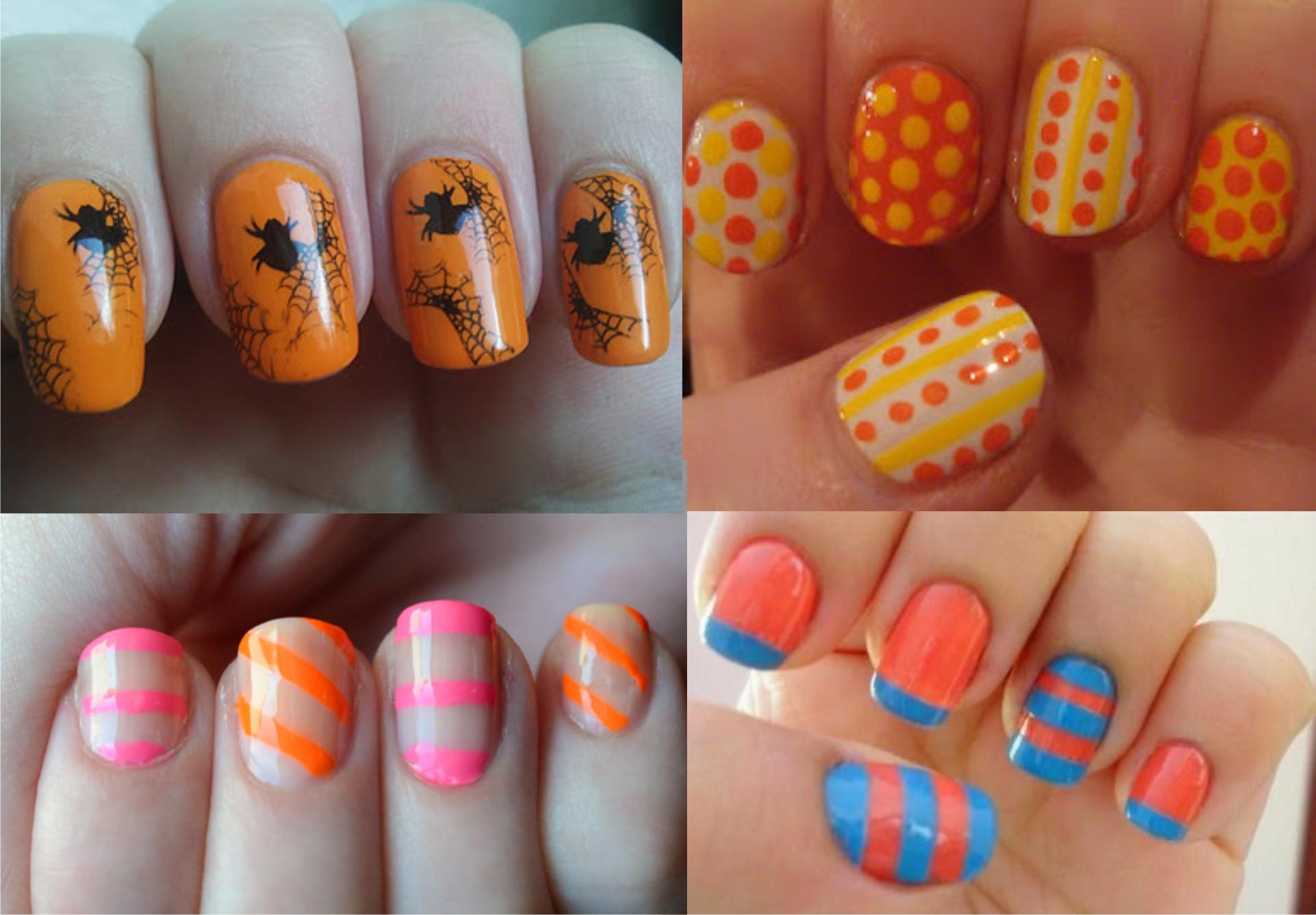 Оранжевые ногти сочетание цветов фото