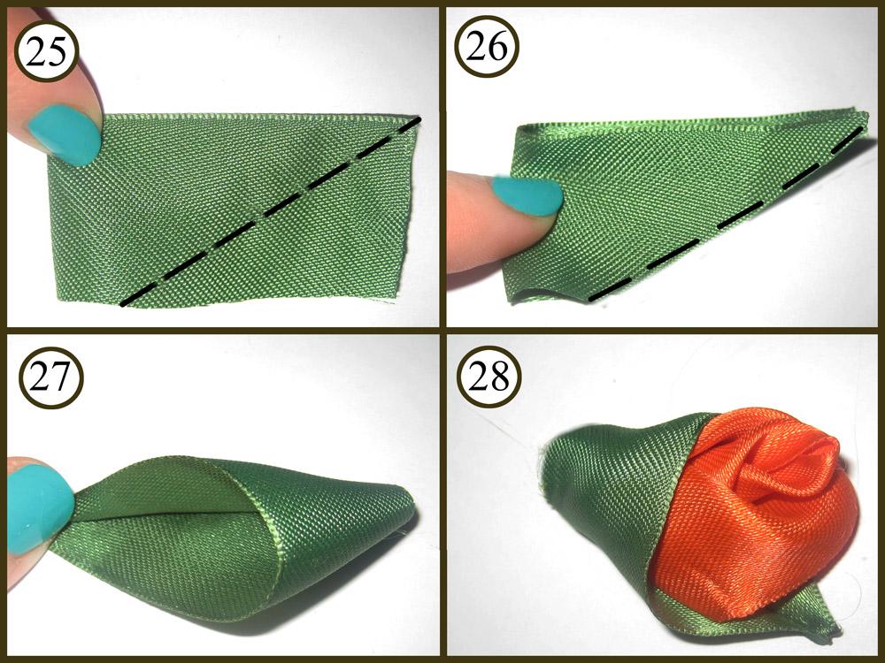 Как сделать листочки из атласных лент своими
