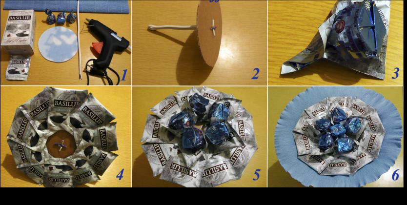 Букеты из конфет и чая своими руками пошаговые фото