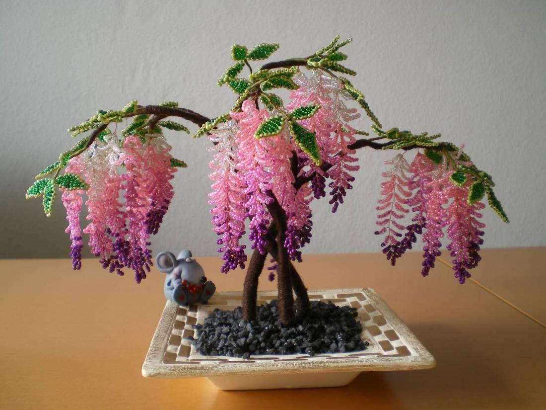 Разноцветное дерево из бисера мастер класс с пошаговым