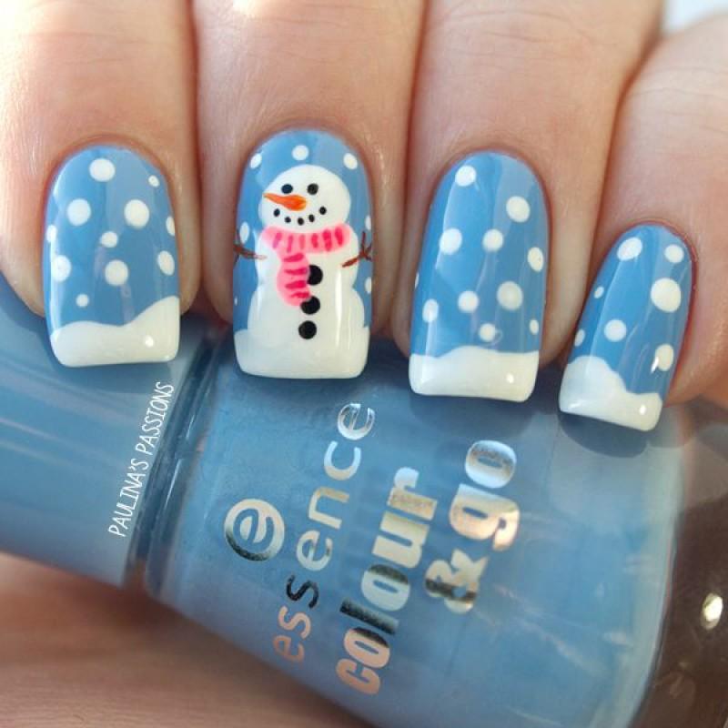 Дизайн ногтей снеговик фото