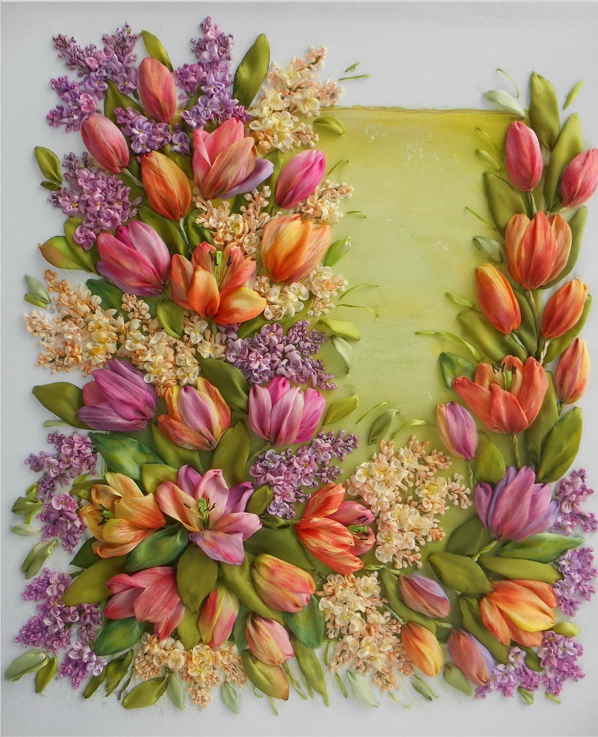 Схемы вышивки лентами букеты цветов