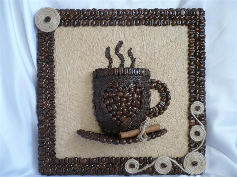 Картина с кофейными зернами своими руками фото