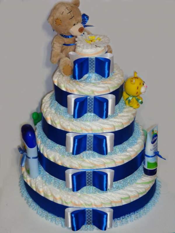 Торт из памперсов для мальчиков своими руками