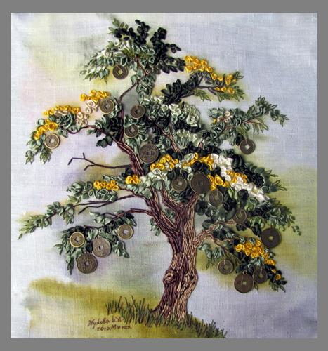 Вышивка лентами мастер класс деревья