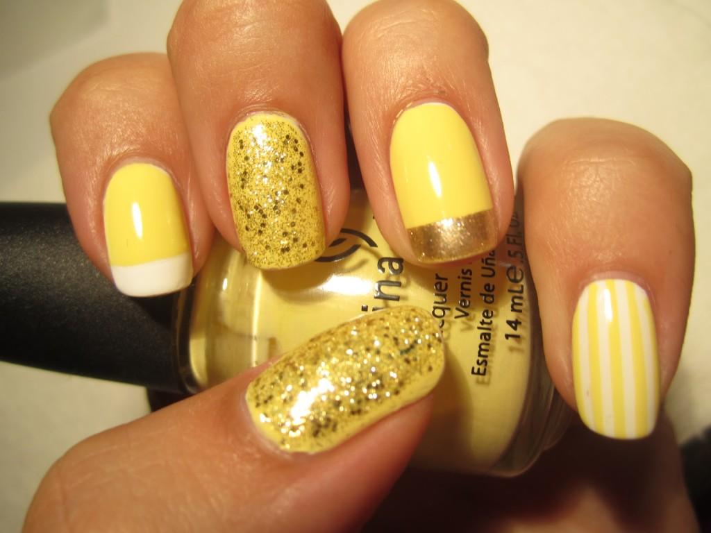 дизайн ногтей жёлтого цвета фото