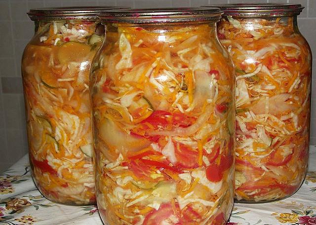 Салаты с капустой на зиму рецепты с