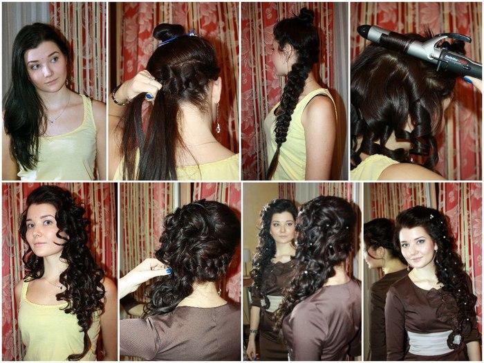 Вечерняя прическа своими руками на длинные волосы пошагово фото