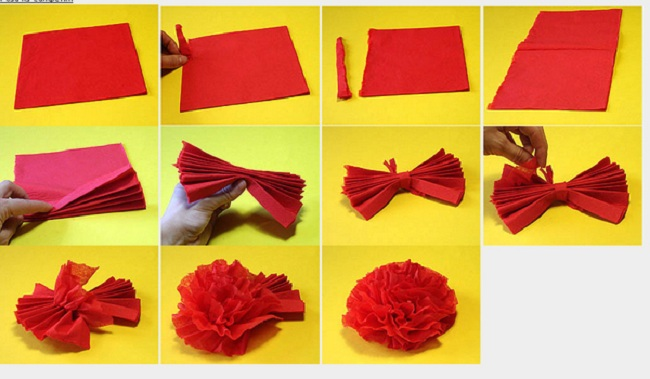 Как сделать своими руками цветок из салфеток