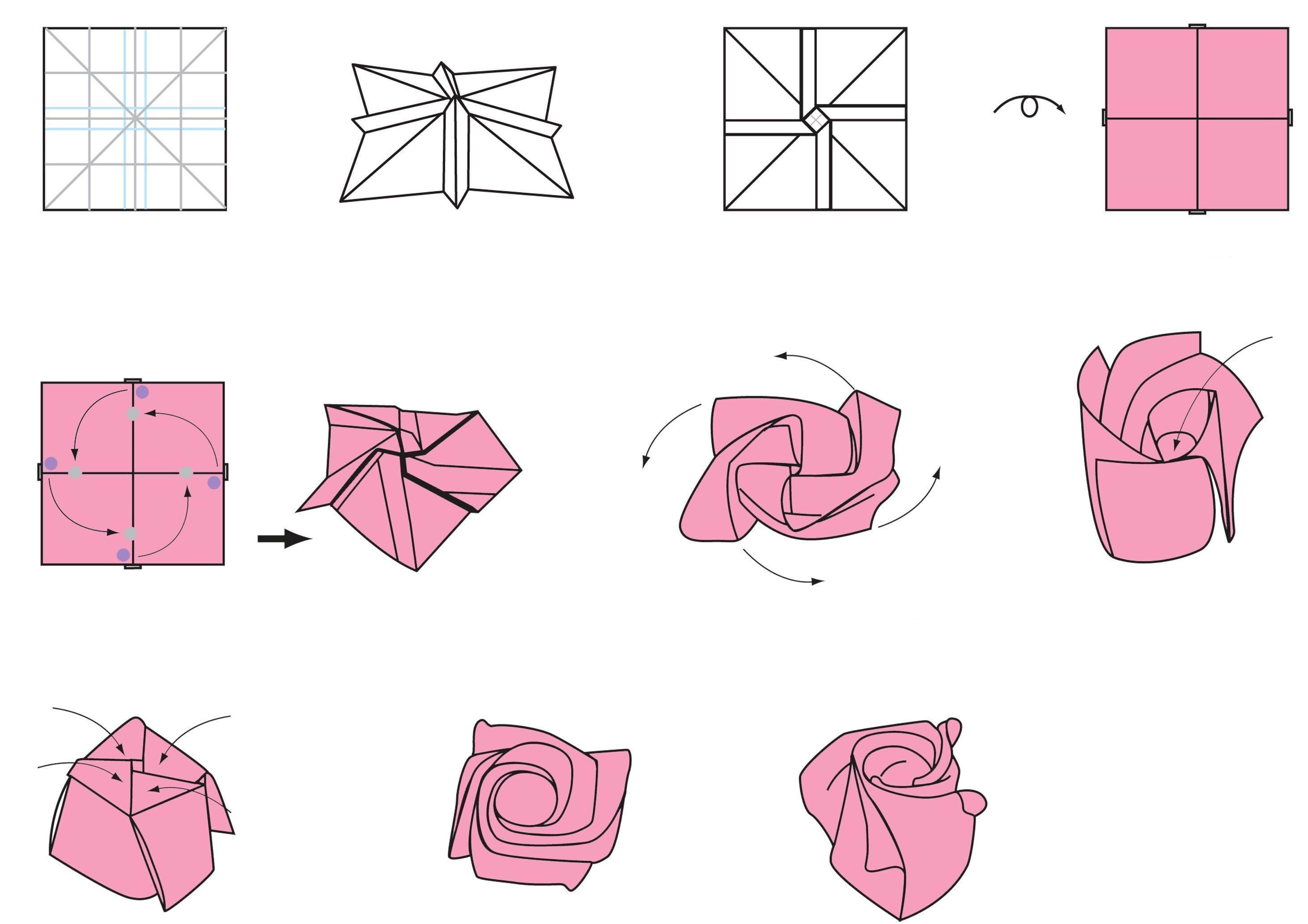 Роза из бумаги своими руками пошаговая инструкция