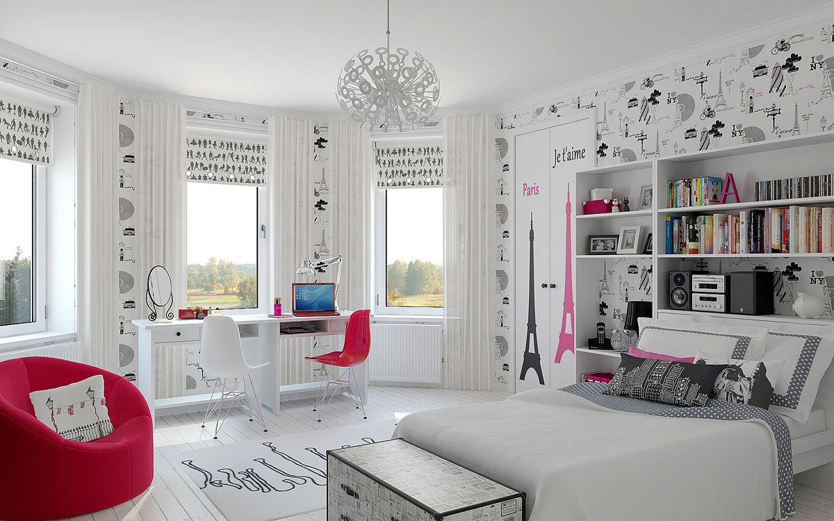 Интерьер комнаты подростка-девочки фото