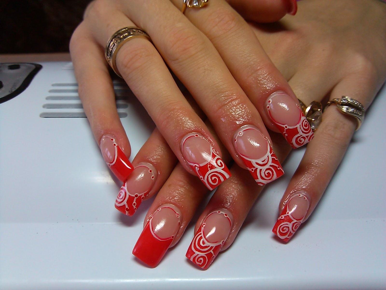 Красно белые рисунки на ногтях фото
