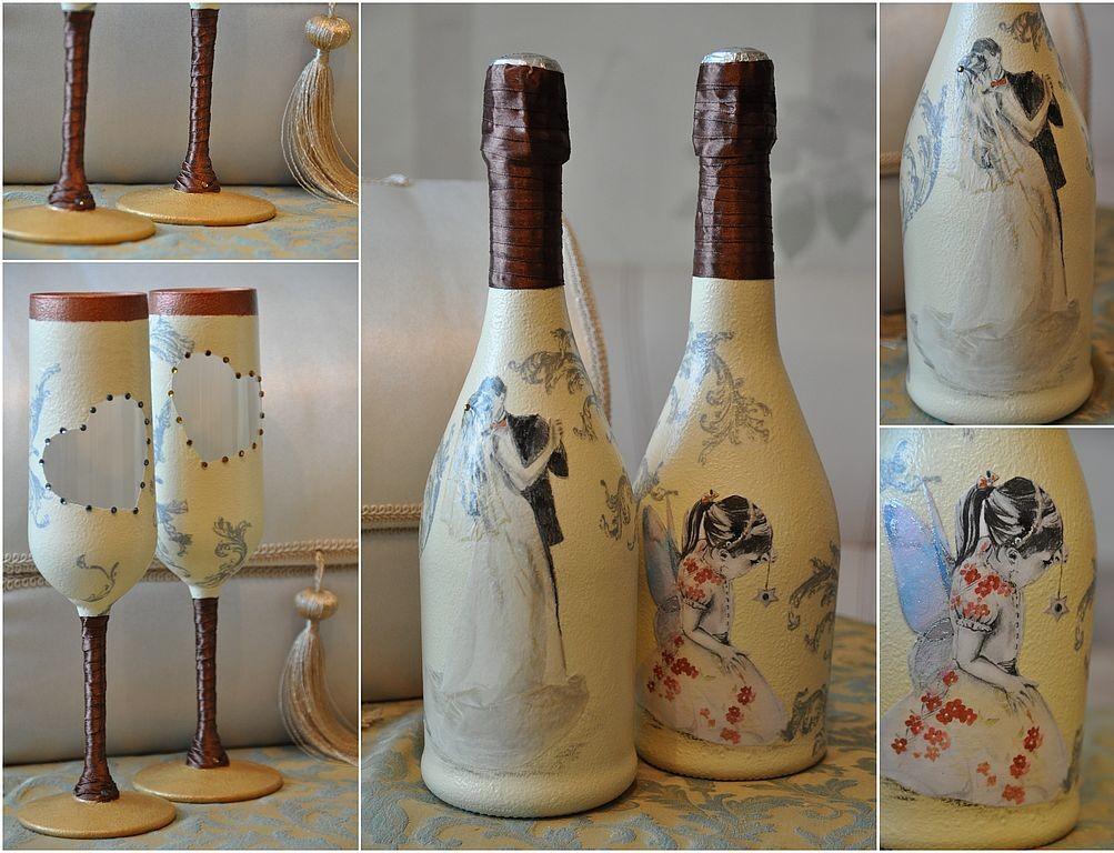 Свадебный декупаж бокалов и бутылок своими руками
