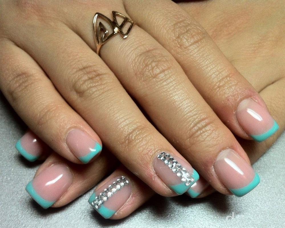 Дизайн ногтей короткие ногти стразы