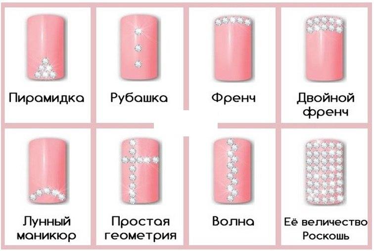 Расположение страз на ногтях схема
