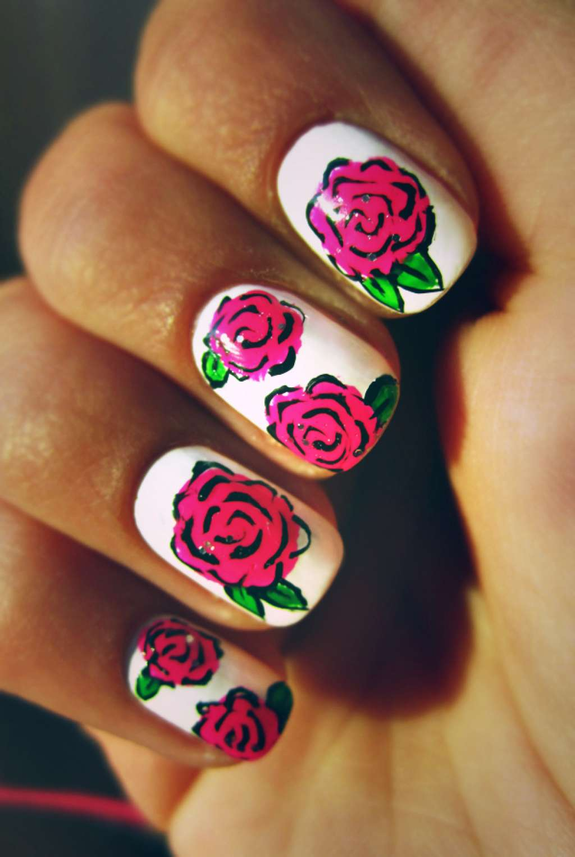 Дизайн ногтей с розами фото 112