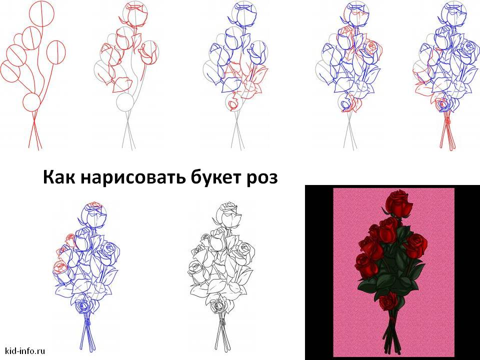 Как нарисовать букет красивых цветов поэтапно