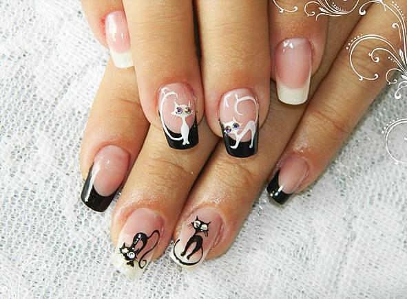 Дизайн с кошкой на ногти