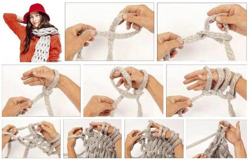 Пошаговое вязания шарфа