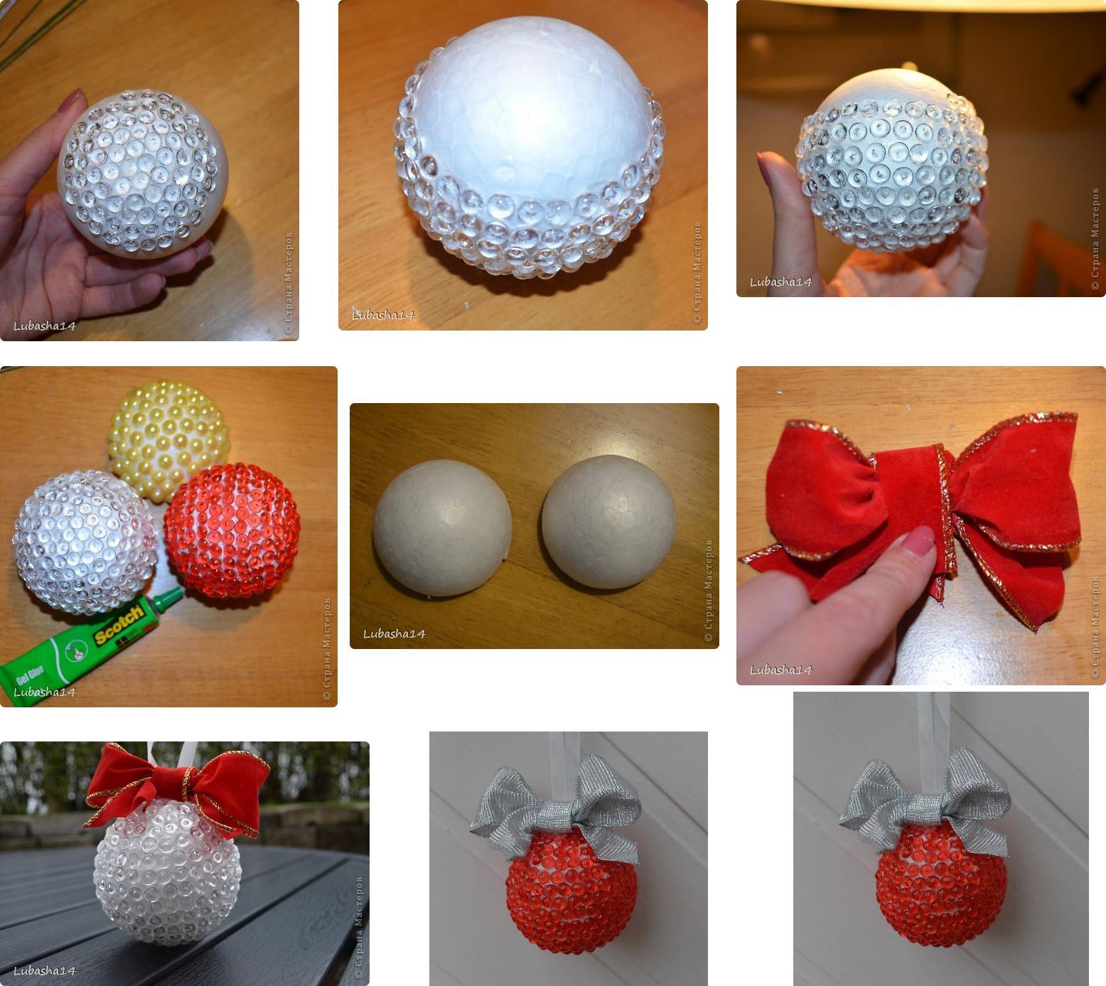 Новогодние игрушки своими руками из пенопласта фото