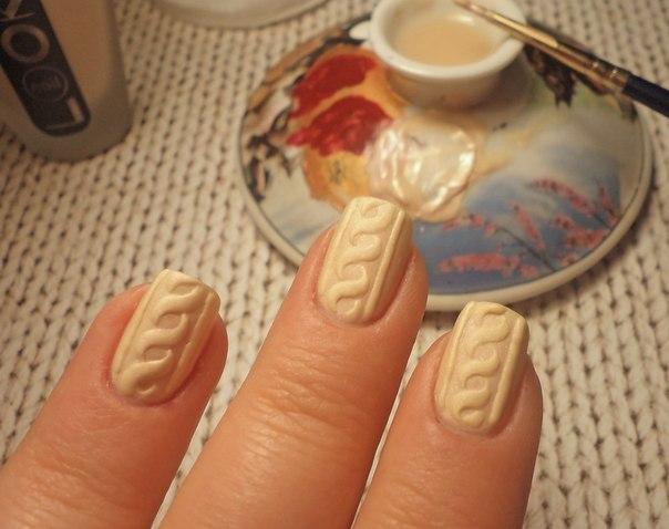 Как сделать дизайн свитер на ногтях