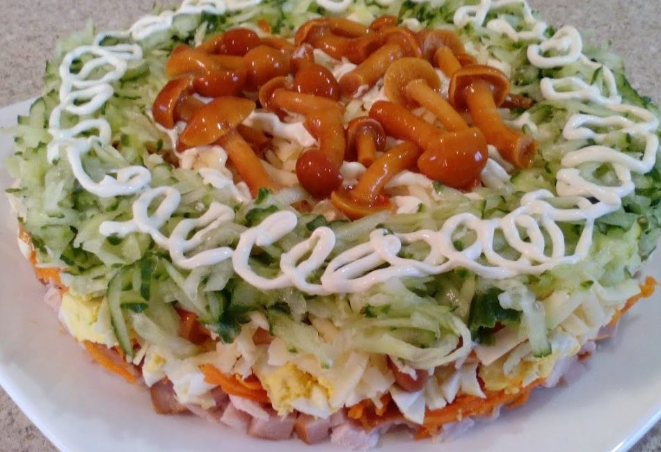 грибная поляна салат рецепт с корейской морковью и луком