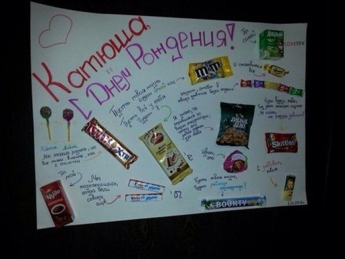 Плакат с днем рождения своими руками подруге со сладостями
