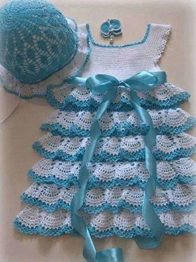 Схема платья для девочки крючком 1 год
