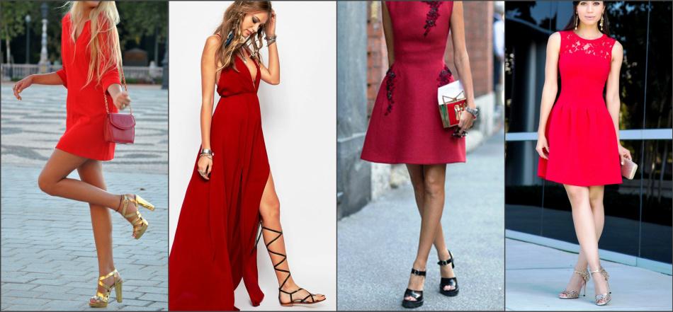 Сочетание босоножек и платья