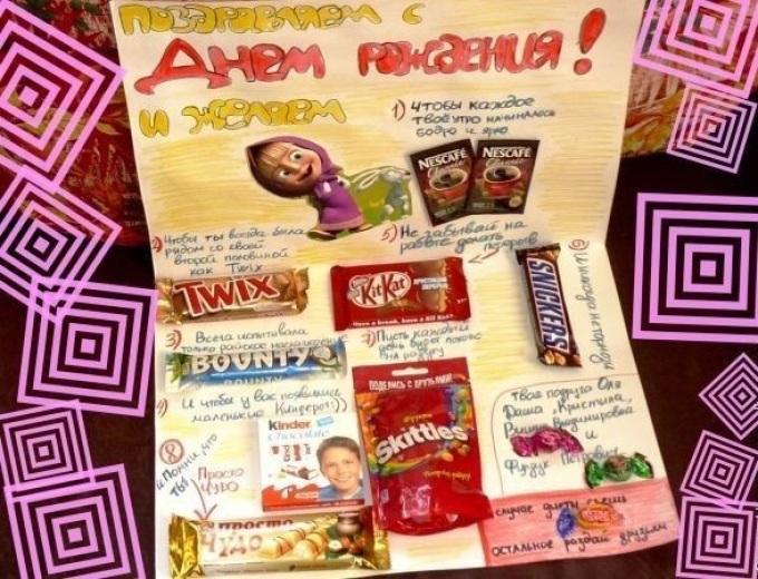 Плакат подруге с шоколадками и надписями своими руками