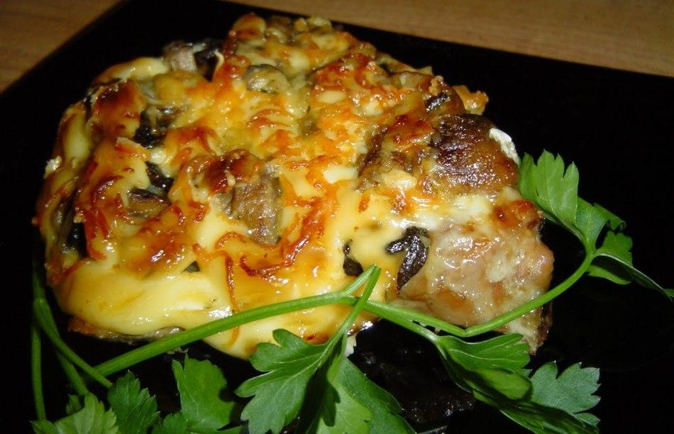110Запеченные грибы с сыром и курицей с пошагово