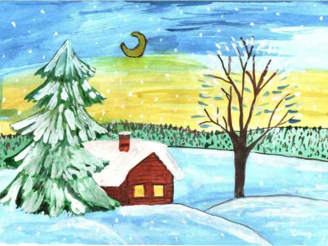 Зимние пейзажи нарисованные детьми