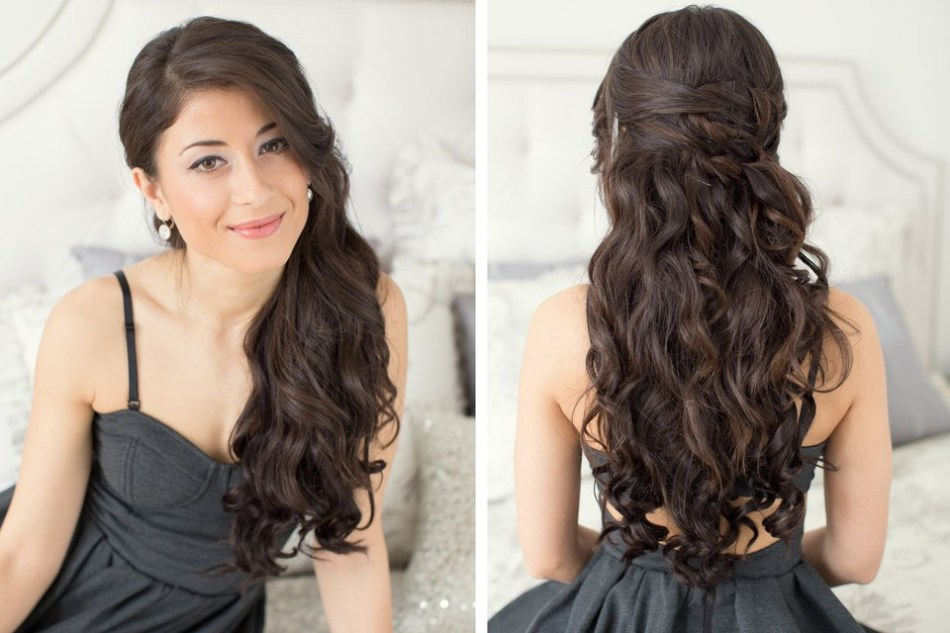 Укладка на вьющиеся средней длины волосы
