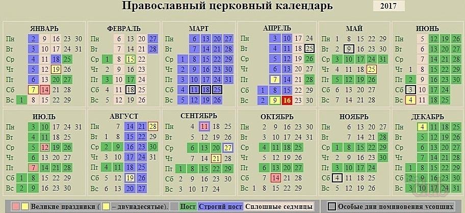 Точный православный календарь на 2017 год