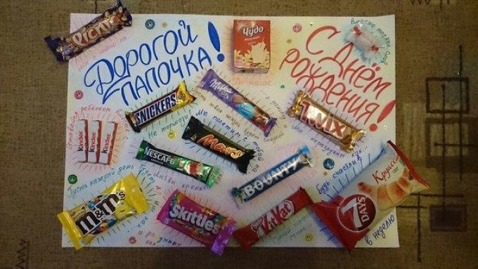 Плакаты с конфетами своими руками для папы