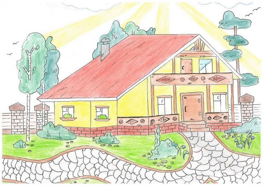 Как нарисовать дом карандашом коллекция изображений.