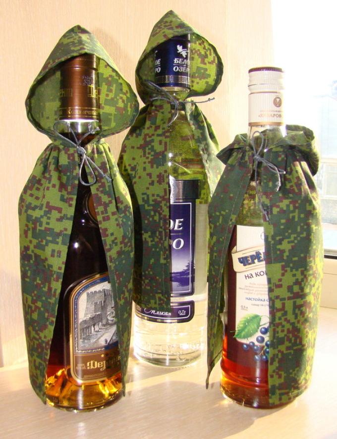 Как оформить бутылку коньяка в подарок для мужчины 90