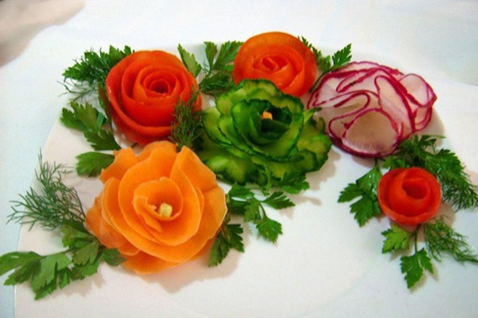 Украшения на салаты из овощей 176