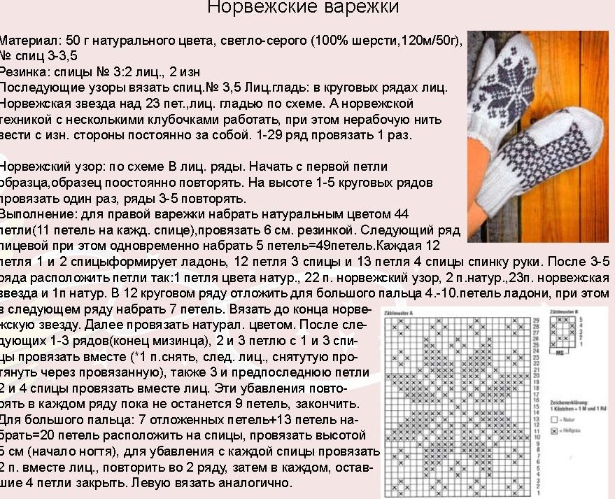 Схемы для вязания варежек спицами с описанием  539