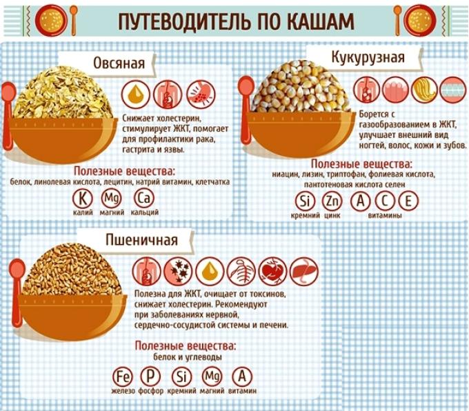 Полезные свойства самых популярных круп: овсяная, кукурузная пшеничная