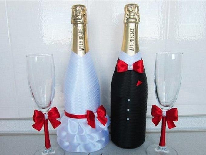 Украшаем шампанское на свадьбу пошагово