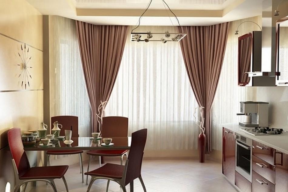 Прозрачные шторы на крючках в столовую
