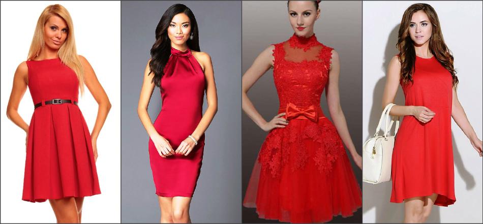 Частное сидит в красном платье