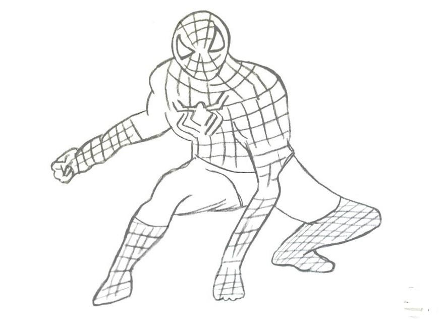 Как ребёнку нарисовать человека паука поэтапно карандашом