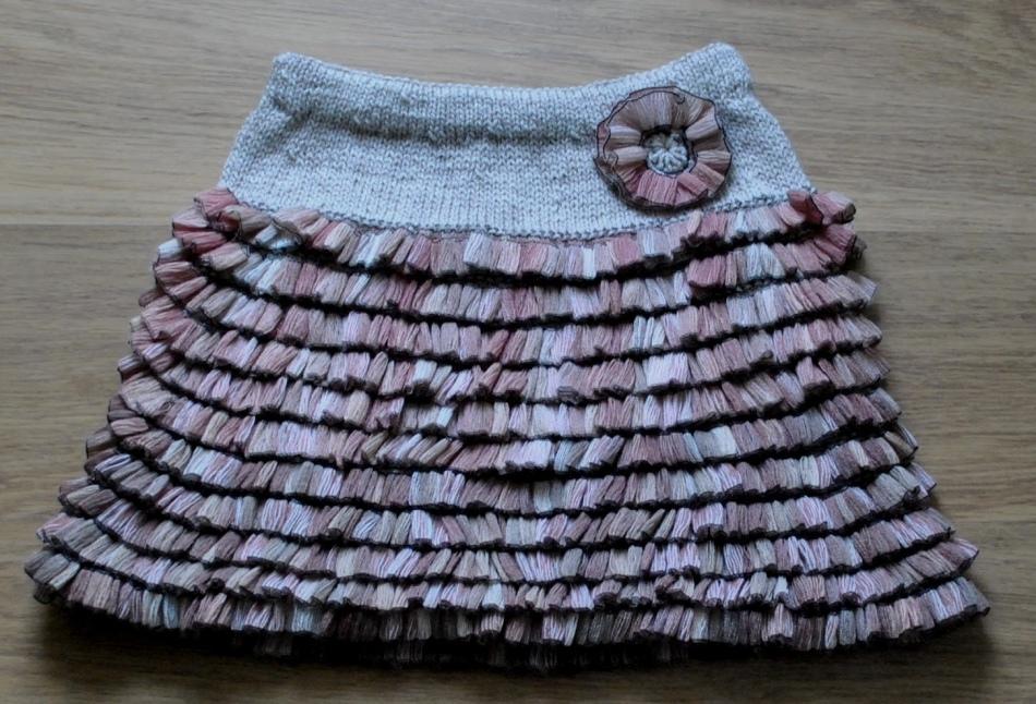 Ленточная пряжа юбка спицами