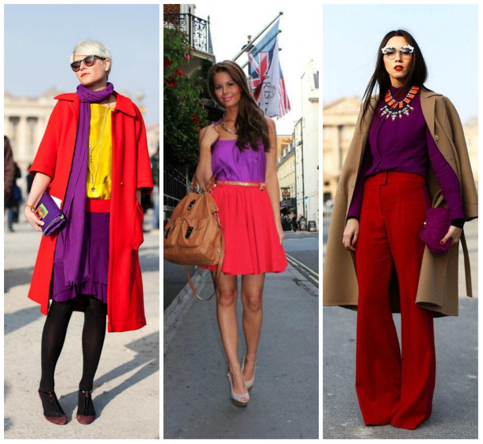 Сочетать в одном образе следует пропорциональную насыщенность фиолетового и красного, например, только темные или только светлые