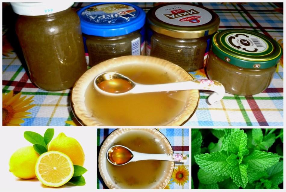 Баночки и тарелка с готовым вареньем из мяты и лимона