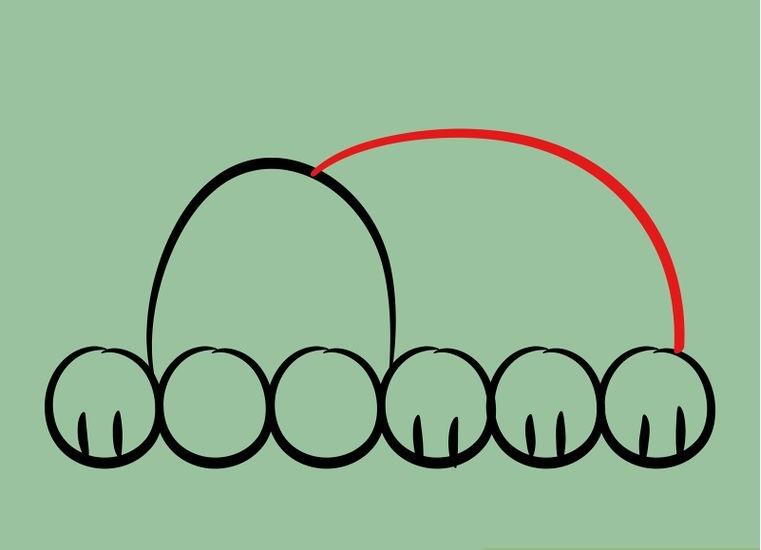 Как нарисовать лежащего щенка: шаг 4